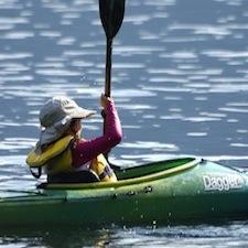 Judy Banfield on Kootenay Lake in her kayak